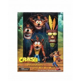 Action Figure Deluxe NECA Crash Bandicoot with Aku Aku Mask