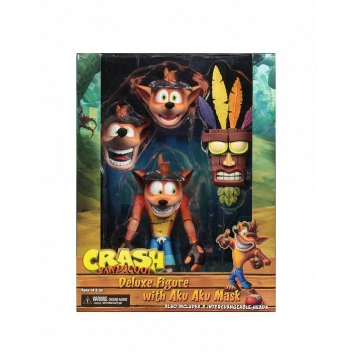 Action Figure Deluxe NECA Crash Bandicoot with Aku Aku Mask