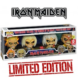Funko Pop! 4 Pack Exclusive Figures Set Eddie Iron Maiden GITD Rocks